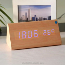 Different color wood material Triangle digital led alarm clock with usb