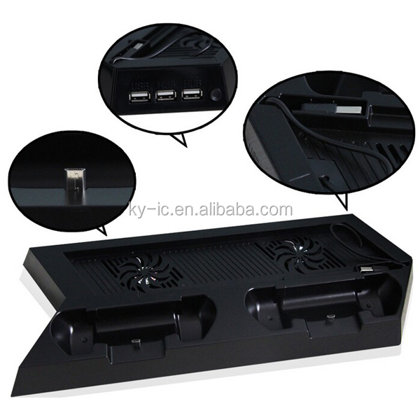 USB Hub with Controller Charging Dock with Cooler with Stand for PS4