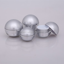 Hot Sale silver color 30ml 50ml ball shape plastic acrylic cream container cosmetic packaging jar