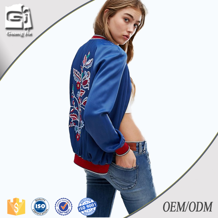 Guangjia High Quality Fashion New Design Windproof Embroidered Stain Cheap Custom Winter Jacket Women