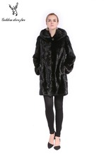 The lady's black elegant mink fur coat