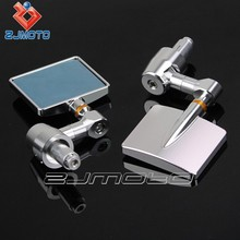 Square CNC Rearview Mirror Handle Bar End Mirror CNC Machined Aluminum Mirror for All Motorcycles Motorbike 1 Pair