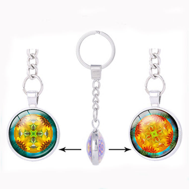Yiwu cheap price cute couple jewelry double sided glass gem datura flower key holder