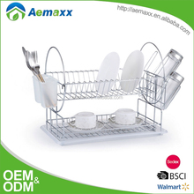 Round circle design 2 tiers stainless steel commercial kitchen dish rack with plastic tray