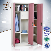 China supplier 3 door bedroom closet steel wardrobe cabinets / wall cupboards for bedrooms
