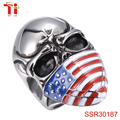 Men's Stainless Steel Band Ring American Flag Mask Skull Biker