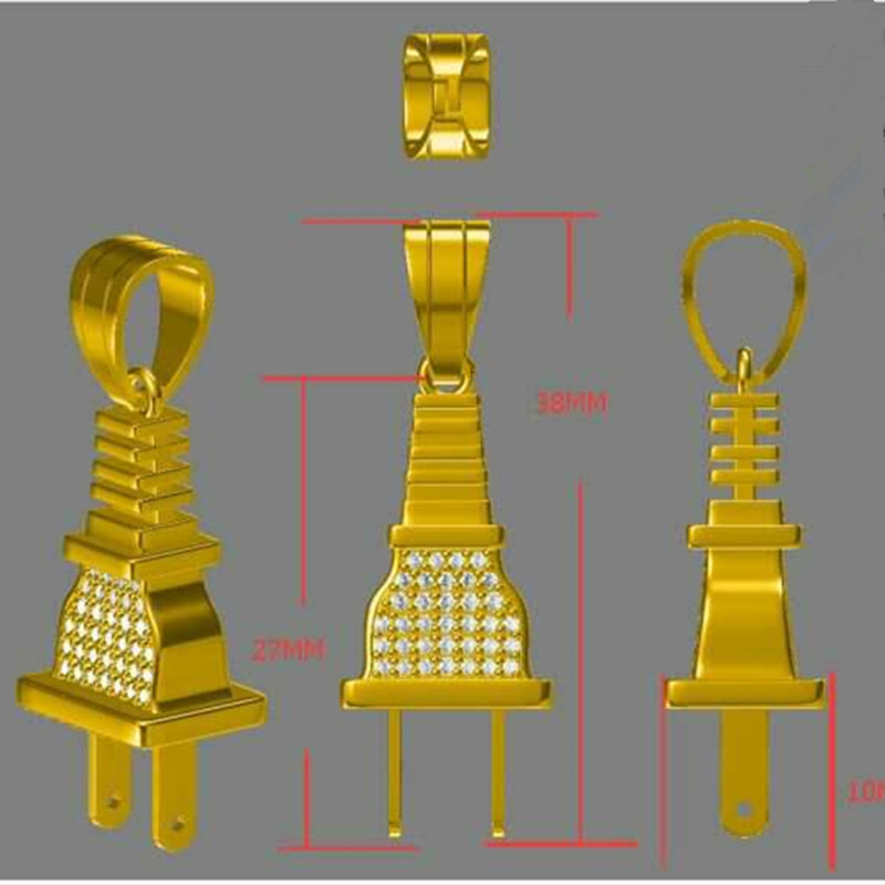 Lab Diamond Custom Iced Out Micro Pave CZ Gold Plated Plug Pendant Men's Hip Hop Jewelry