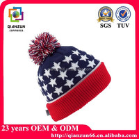 Stars & Stripes Knitted Bobble Hat USA Flag Winter Cap American Adults Beanie