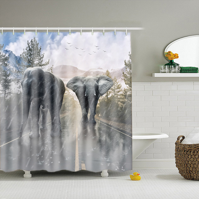 European Style Polyester Easy Clean Printed Elephant Shower Curtains