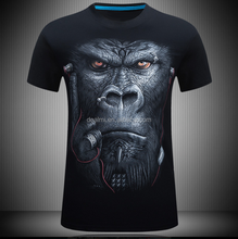 2017 new Gorilla and tiger HD printing shirt wholesale variety t shirt printing custom