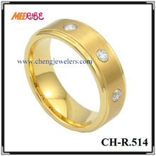 Plating dimond inlaid tungsten mens gold thumb rings