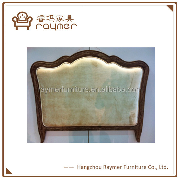 Luxury classic home furniture solid wood carved upholstered headboard
