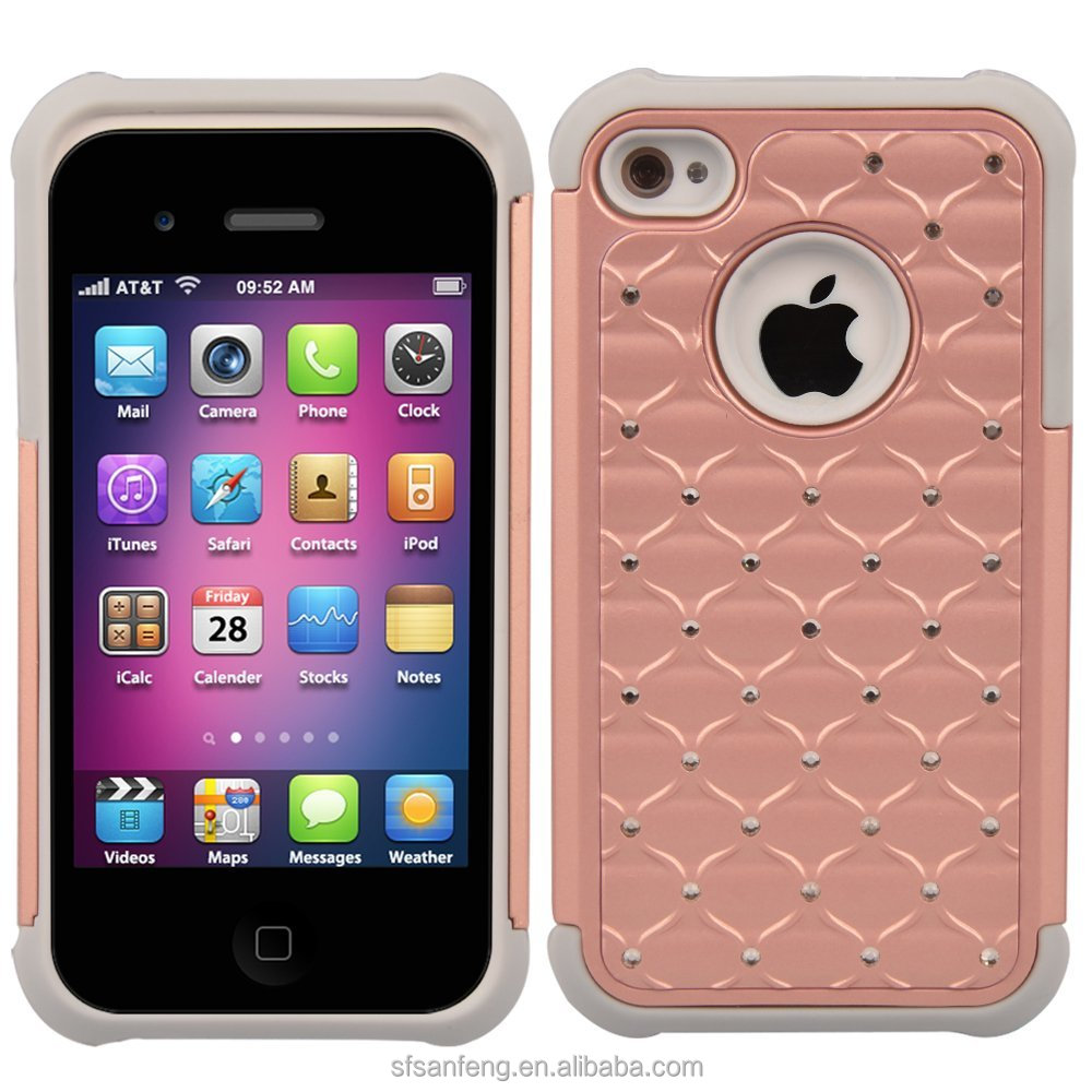 High Quality Cellphone Case For Apple iphone 4s Plastic Silicone Diamond Case