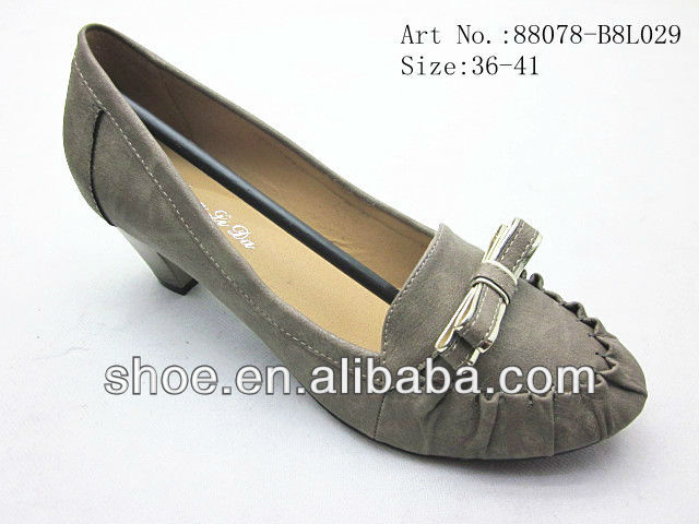 earth colors fashion thick heel shoes