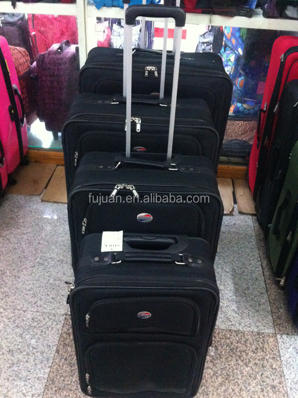 Stock New Aluminum Handle Soft Polyester Women Luggage Sets Travel Suitcase 20 24 28 32 Inch