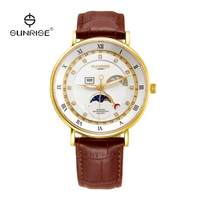 Hot sale genuine leather strap moonphase watch movement stainless steel watch