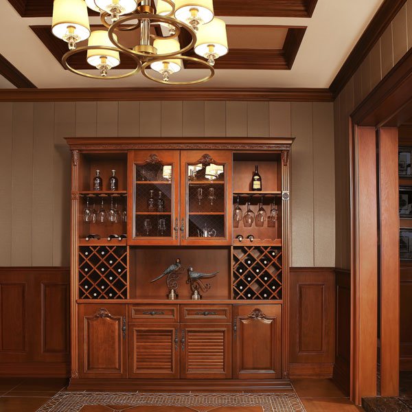 2014 New Oak Modern Glass Display Solid Wood Design Wine Cabinet