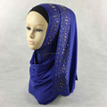 Factory Sale Muslim Cotton Jersey Long Hijab Shimmer Scarf Rhinestone Glitter Scarves QK051a