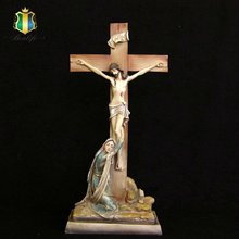 resin crafts religious ornament for home decor jesus with cross figurines