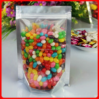 16*24cm Stand translucent aluminium ziplock bag - All front clear Aluminizing mylar foil plastic pouch zipper sealed