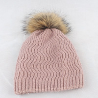 fashion promotional multi color floppy custom winter thick wool lines custom knitted hat with pompom