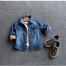 KS10151B High quality boys autumn shirts fashion jeans pants shirts for 1-5 years boys