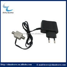 2017 latest Flat Style Connection power supply dvb-t MMDS down converter antenna power cord for US market