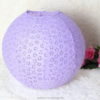 Purple Round Eyelet Lace Look Paper Lantern for Wedding Party