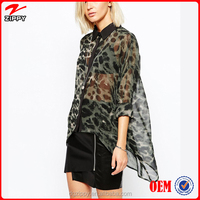 All Over Leopard Print Over sized Sheer Blouse front short and long back blouse