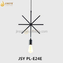 Loft lamp iron snowflake black ceiling brass pendant light