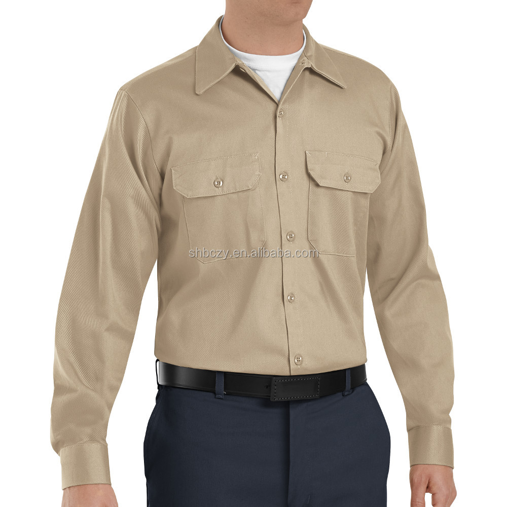 long sleeve khaki heavy weight cotton twill security guard uniform shirts