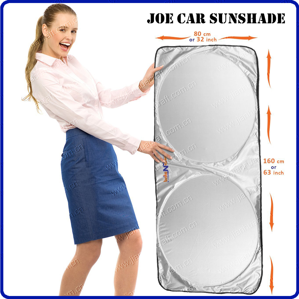 Premium Nylon Jumbo Windshield Sunshade Best UV Ray Block Easy Folds, Fast Pop up Huge to Shield Large Car, SUV and Van sun shad
