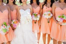Wholesale Wedding Party Dresses Chiffon Sweetheart Bodice Short Peach Bridesmaid Dress R24