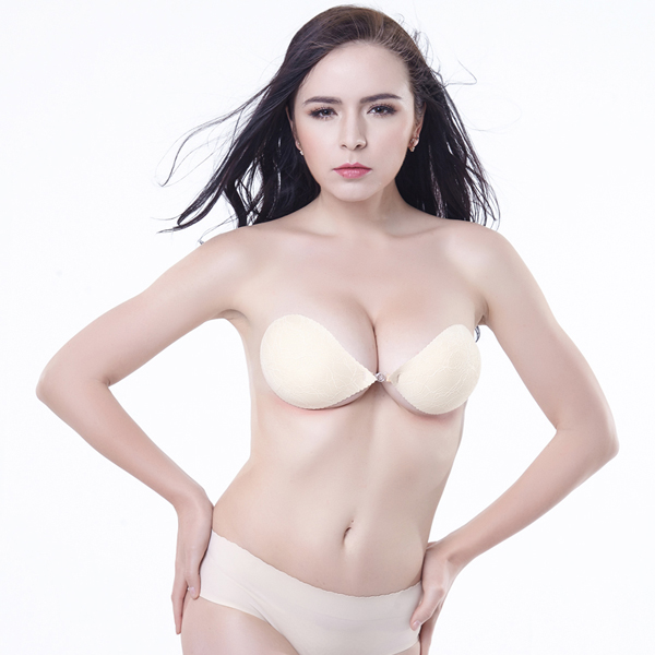 Front closure backless and strapless self adhesive silicone bra