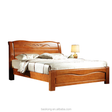 Wholesale Cheap Rubber Wood Carved Double Plank Bed