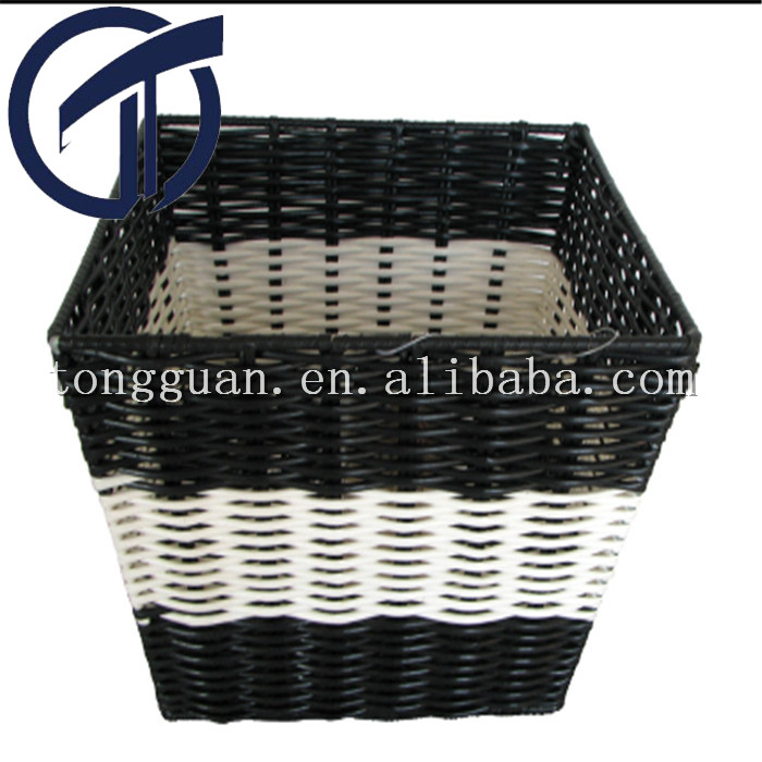 hand-weaven plastic square storage basket /bins