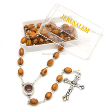 Wholesale Religious Olive Oval Wood Holy Soil And Jerusalem Cross Catholic Rosaries With Gift Box