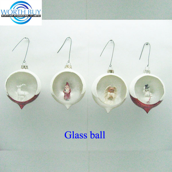 Small figures like Santa, sonny angel, snowman & deer in glass ball christmas ornaments from Shenzhen factory