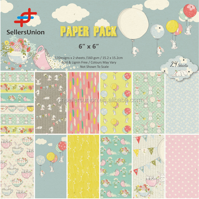 Paper pack paper craft Bunny's Dream scrapbooking acid and lignin free 6*6 inch 15.2*15.2cm 160G 24pk 12 designs