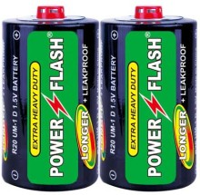 Power Flash Zinc Carbon R20 D Size Um-1 Sum1 Dry Cell Battery 1.5V, Super Heavy Duty Battery