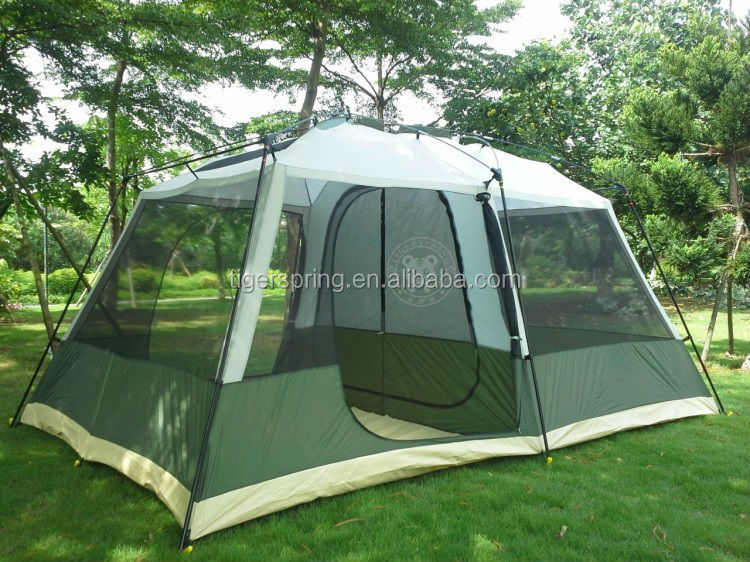 Quality waterproof anti UV escort tent with screen porch 8-person for team activities & Quality waterproof anti UV escort tent with screen porch 8-person ...