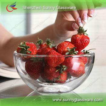 Wholesale heat-resistant double wall glass bowl