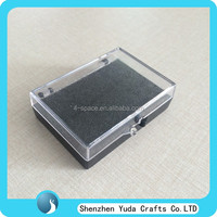 clear and black plastic hinged mineral box with foam insert