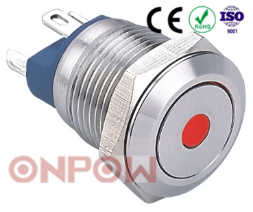 ONPOW 12mm dot illuminatad waterproof stainless steel metal pushbutton switch 2 pin terminals ( GQ12-AF-10D/J/S) CE, RoHS