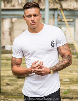 Hot Sale White 96% Cotton 4% Elastane Mens Short Sleeve Longline T-Shirt Black Long Drop Curved Hem T Shirt Fitted Gym T Shirt