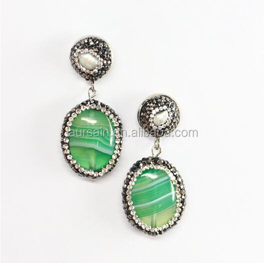 LS-D5204 NEW style !! Wholesale Paved Green Agate Earring