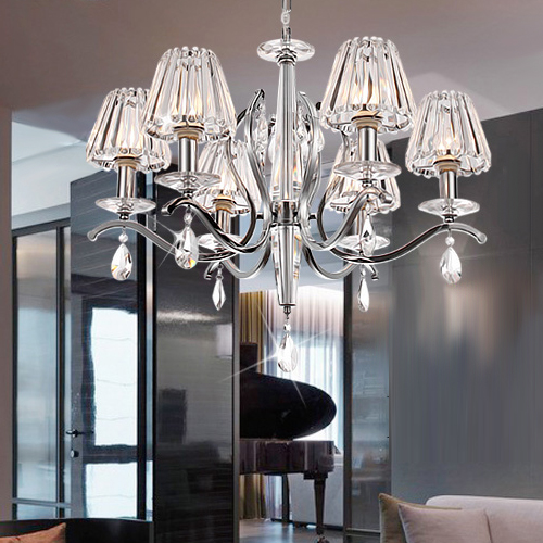 Factory Price With Crystal Drop Fabric Shade Pendant Lamp