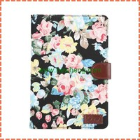 for iPad Mini 4 Flower Cloth Wallet Style Magnetic Flip Stand PC + PU Leather Case