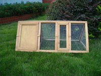wooden garden triangle dog houses