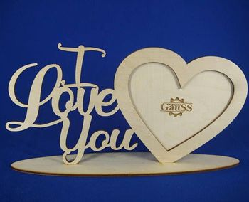 love style wood laser cutting photo frame